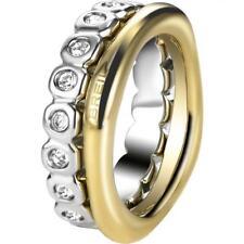 Doppio Anello BREIL ROLLING DIAMOND TJ1545 Acciaio Gold Swarovski Misura 16