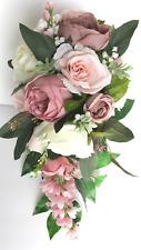 Wedding Bouquet 17 piece package Bridal set Silk Flower BLUSH MAUVE PINK Cascade