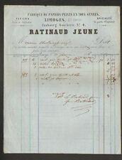 """LIMOGES (87) USINE de PAPIERS PEINTS """"RATINAUD Jeune"""" en 1866"""