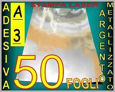 50 FF A3 42X29,7 ADESIVO ALLUMINIO ARGENTO ETICHETTE STAMPANTE LASER PLOTTER
