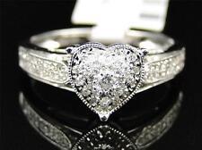 14K Womens White Gold Genuine Real Diamond Heart Engagement Wedding Promise Ring