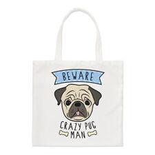 Fai attenzione Crazy Pug Uomo Small Tote Bag-Divertente Cane Animale Carino Cucciolo spalla