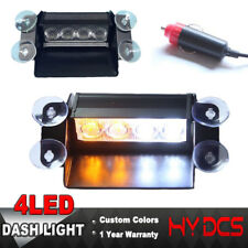 4 LED Car Emergency Warning Visor Board Strobe Dash Flashing Light Lamp A White