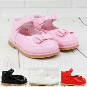 KIDS BABY INFANTS GIRLS BOW SPANISH FLAT WEDDING PARTY PATENT TODDLER SHOES4-8