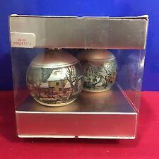 Hallmark Satin Ball Ornament Currier and Ives 2 Small Balls
