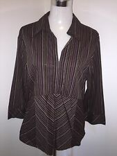 Ladies Size 16 Brown Stripped Buttonless Shirt Blouse