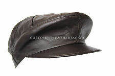 New Mens Captain America Cap Brown High Quality Real Genuine Leather Beret Hat