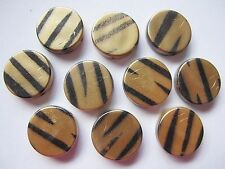 10 animal print 18mm acrylic flat round coin beads tiger gold black