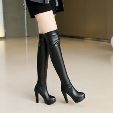 Womens Zip Block High Heel Platform Over Knee Boots Party Shoes UK Plus Size 2-9