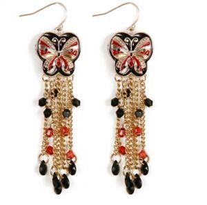 WHE344 White Chapel Bridal Bohemian Red / Black Madame Butterfly Earrings US