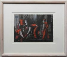 SIMON MARSH B1961 ORIGINAL SIGNED PAINTING 'WORKERS ON THE RAILWAY' 1992