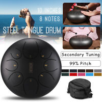 Kit 10'' Acier Tambour langue Tongue Drum Handpan 8 Notes+Sac Marteau Score Oil