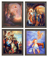 Jesus Christ & Mother Mary With Angle Four 8x10 Set Framed Wall Decor Art Print