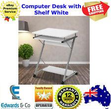 Desk Home Office Computer Small Sliding Tray Bottom Shelf Student Wheels White