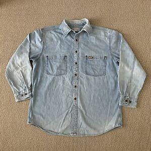 Vintage Distressed Carhartt Denim Button Up Shirt Mens Medium M Blue Long Sleeve