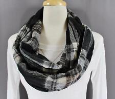 Black Grey plaid check super soft scarf circle infinity endless loop long