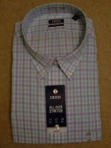 IZOD Dress Shirt-Long Slv ~ Size 20 ~ SR $57.50 ~ Plaid Blue & Green on White