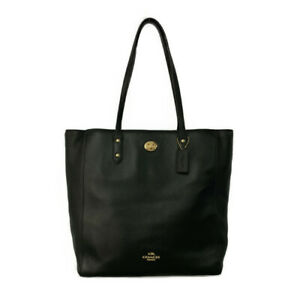 Coach Town Tote Bag Pebble Leather / F12184 / Black / Gold Hardware / COACH