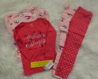 Carter's Toddler Girls 4 Piece Pink Mix Match Snug Fit Pajama Set 4T NEW NWT