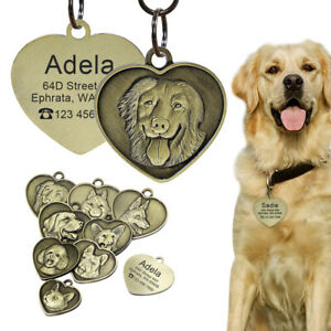 Personalised 3D Dog Tags Stainless Steel Pet Dog ID Name Tags Freed Engraved
