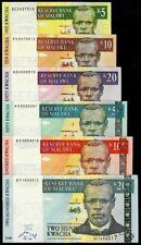 MALAWI 5-200 KWACHA 2004-07, 6 PC. BANKNOTE SET UNC
