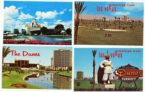 Vintage Lot of 4 DUNES HOTEL CASINO LAS VEGAS NV  POSTCARDS 1960s