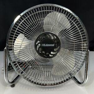 "Vintage Lakewood 9"" Metal 3 Speed Chrome Tabletop  High Velocity Fan Model HV-9"