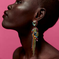New Women Multicolor Crystal Parrot Statement Dangle Earrings Bird Drop Earrings