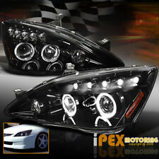 SHINY BLACK Housing 2003-2007 Honda Accord Halo Projector LED Headlight Headlamp