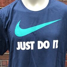 "Nike Tee ""Just Do It"" Athletic Cut Men's XXL Blue Green Running CrossFit T Shirt"