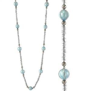 "Regency 48"" Pastel Blue Glass Ball Bead and Tinsel Christmas Tree Garland"