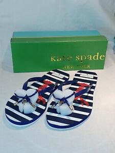Kate Spade Nova Shiny Rubber French Navy Blue Bow Lobster Flip Flop Sandal Sz 10