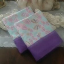 COUNTRY COTTAGE KIDS SET OF 2 BEAUTIFUL BUTTERFLIES FLANNEL PILLOWCASES - NEW