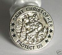 St Christopher Protect Us pin badge biker Patron Saint of Travellers