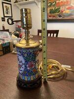 Vintage floral motif Cylindrical Porcelain Vase Table Lamp