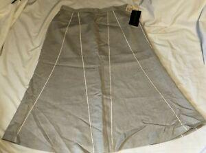 HARVE BENARD Holtzman Lined Natural Linen Skirt Womens Size 10 NEW NWT