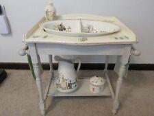 Vintage Sarreguemines France WashStand Basin Bowl Pitcher Kate Greenaway