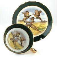 Regency Three Pheasants in Flight Tea Green Cup Saucer Bone China England L007