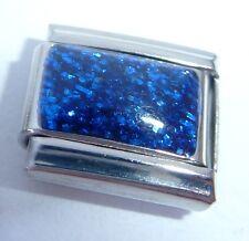 BLUE GLITTER RECTANGLE Italian Charm - September 9mm fits Classic Bracelets