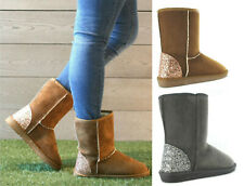 Ladies Womens Flat Fur Lined Winter Snug Warm Grip Sole Ankle Boots Shoes Size