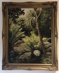 Original Irish Art Oil On Board Painting Palms Ferns Palm House Hilary Humphreys