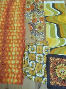 70s retro fabric pieces for patchwork