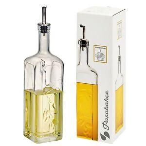 Pasabahce Homemade 1L Oil Vinegar Glass Condiment Bottle Designed Metal Pourer