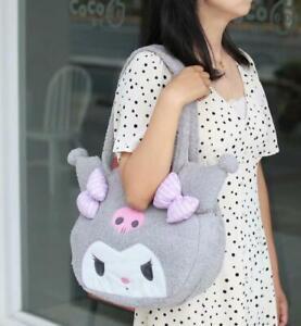 kuromi gray fuzzy shopping bag handbag travel tote bags storage model