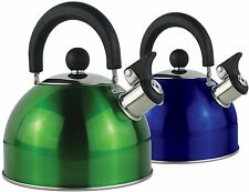 Yellowstone 2 Litre Whistling Kettle Metallic Blue Indoor Outdoor Stove Top