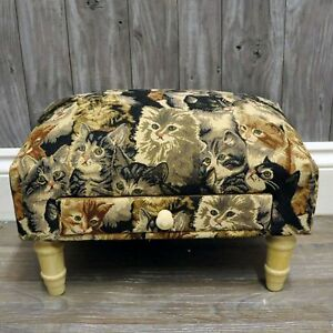 Cat Print Fabric Footstool with Drawer Home Decor Ornament Furniture Cream