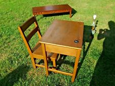Antique Oak Child's School Desk And Chair W Ink Well