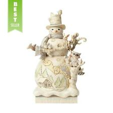 "Jim Shore XLARGE WHITE WOODLAND SNOWMAN WITH ANIMALS Figurine 4058733 BNIB 17.5"""