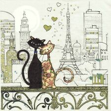 SERVIETTES EN PAPIER CHAT CHAT A PARIS J. CROWTHER. PAPER NAPKINS CAT CATS PARIS
