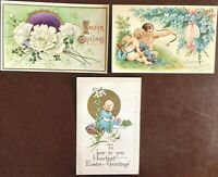 3 VTG Antique Unused Easter Postcards: Cherubs/Flowers/Girl/Colored Eggs/Gilt